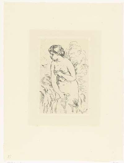 Staande naakte vrouw of baadster; Baigneux debout a mi-jambes