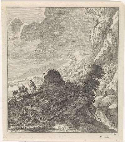 Berglandschap met wandelaar en ezel; Landschappen