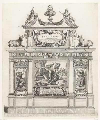 Triomfboog met Hercules die een stier verslaat; intocht van Ferdinand te Gent in 1635 (nr. 36); Lanionum pegma