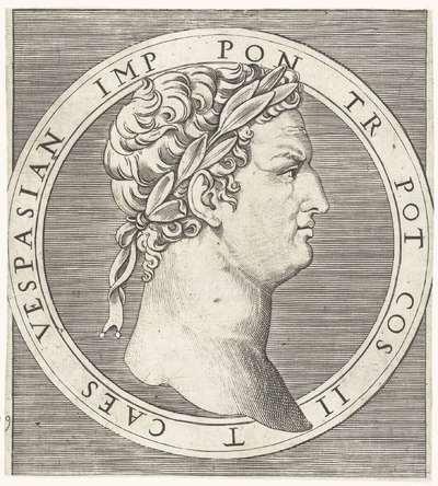 Portret van keizer Vespasianus met lauwerkrans in ronde omlijsting; VESPASIAN IMP PON TR. POT COS II T CAES; Romeinse keizers