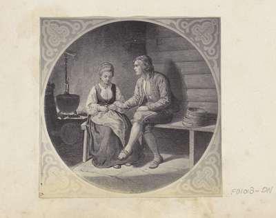 Fotoreproductie van (vermoedelijk) een prent naar een schilderij van Adolph Tidemand; Bondelivet Tidemann