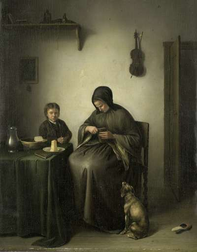 Image from object titled A Woman Slicing Bread