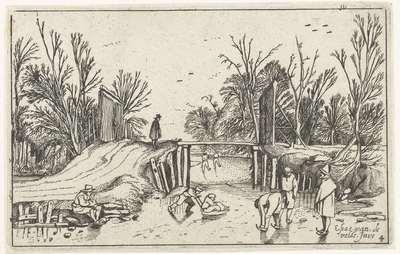 Schaatsers voor een houten brug; Landschappen
