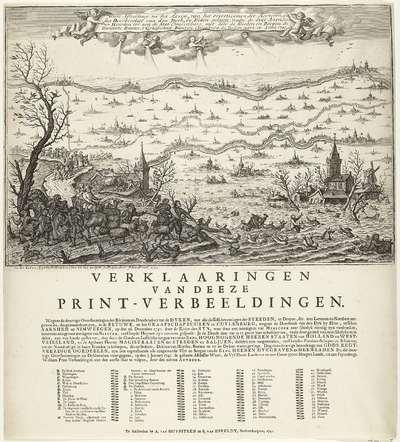 Watersnood na dijkdoorbraken bij de grote rivieren, 1740-1741; Ware Afbeelding na het Leven, van het overstroomen, der Revieren, en het Doorbreeken van den Dyck, by Elden (...) tot aen de Stat Cuylenburg (...) Anno 1740