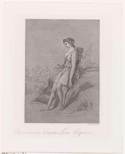 Jageres met dode vogel; Cacciatrice d'après Léon Cogniet