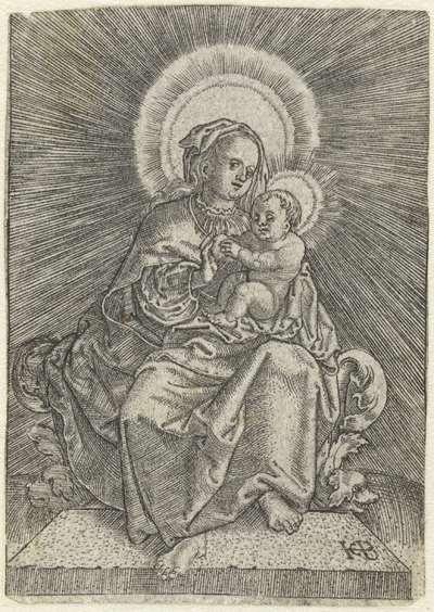 Tronende Maria met kind en appel in stralenkrans