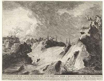 Doorbreken van de Sint-Antoniesdijk, 1651; Vertoninge ende nae t' leven Afgebeelt, het door breecken vande St. Anthonis dyck buyten Amsterdam