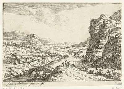 Rivierlandschap met stenen brug; Vier rivierlandschappen