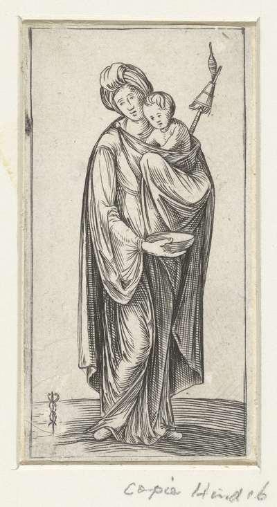 Vrouw met kind en spinrokken