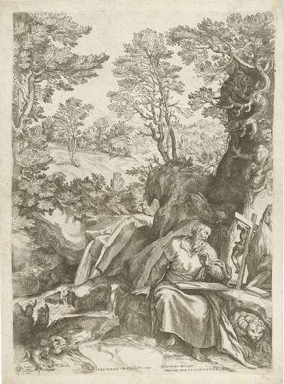 Landschap met H. Hieronymus die de bijbel vertaalt