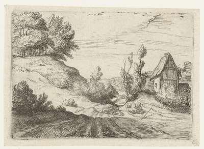 Huis naast een heuveltop begroeid met bomen; Kleine landschappen
