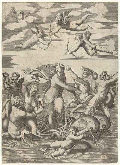 Triomf van Galatea met tritons en nereïden en putti