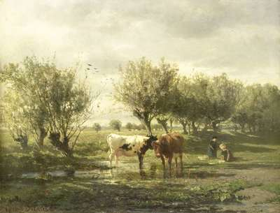 Image from object titled Cows at a pond