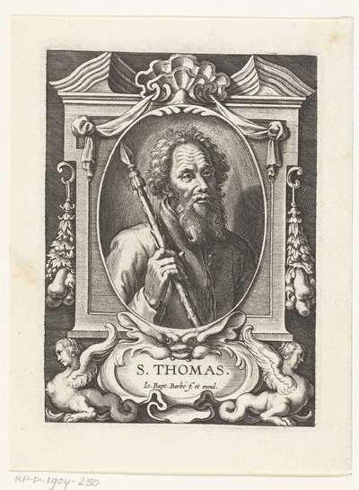 Apostel Judas Taddeüs met lans in omlijsting met architectuur ornamenten; S. Thomas; SS. Apostolorum et Evangelistorum Icones