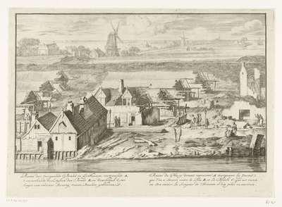 Ruïnes van de drie uitgebrande lijnbanen op de schans aan de Smallepadsgracht, 1680; Ruine der voorgaande brand in lynbaanen (…) / Ruine du feu cy devant representé (…)