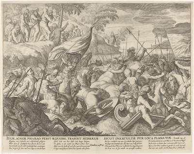 Farao en zijn leger verdrinken in de Rode Zee; Itur, atrox Pharao perit aequore, transit Hebraeus sicut inexcultae per loca plana viae; Royaalbijbel