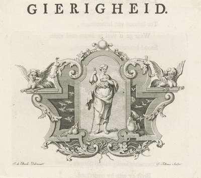 Vignet met de personificatie van Gierigheid; Gierigheid; Deugden en ondeugden
