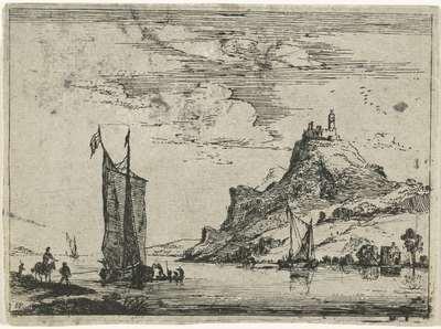 Rivierlandschap met een ruiter op de oever