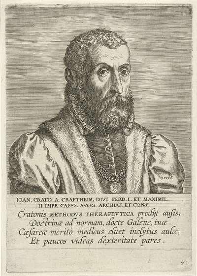 Portret van Johannes Crato; Ioan. Crato A Craftheim; Portretten van beroemde geleerden; Imagines L. Doctorum Virorum