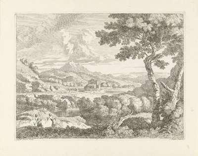 Heuvelachtig landschap met herders; Landschappen naar Gaspar Poussin