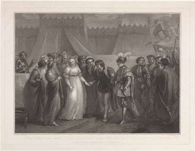 Catherine van Valois en koning Hendrik V van Engeland; The princess Catherine of France presented to Henry the 5th of England (...)
