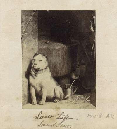 Fotoreproductie van een schilderij van Edwin Henry Landseer; Low Life Landseer.