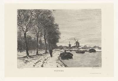 Winterlandschap met vaart en molens; Winter