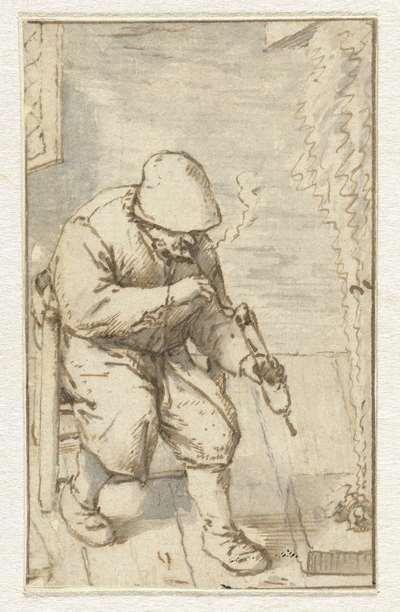 Boer zittend bij een vuur