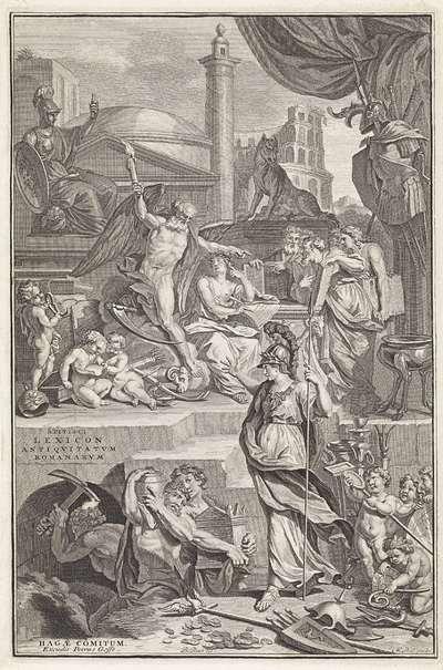 Allegorische voorstelling met Geschiedenis, Vader Tijd en Minerva; Titelpagina voor: S. Pitiscus, Lexicon antiquitatum Romanarum, 1737