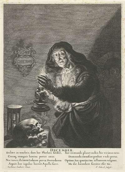 December: Oude vrouw bij kaarslicht; December; De twaalf maanden