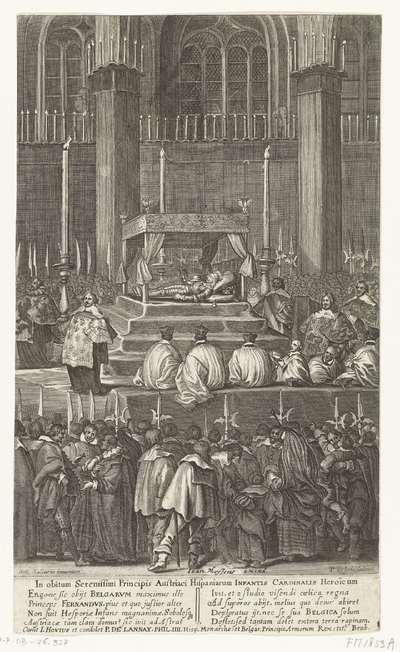 Praalbed van de overleden kardinaal-infant Ferdinand van Oostenrijk, opgebaard in de Sint-Gudulekerk te Brussel, 1641; In obitum Serenissimi Principis Austriaci Hispaniarum Infantis Cardinalis Heroïcum