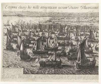 De vlootlanding bij Philippine (linkerblad), 1600; Ectypoma classis bis mille octingentarum navium Ductore Illustrissimo Principe Mauritio Nassovio in Flandriam appulsae. XXII. Juny. M.VI.C.