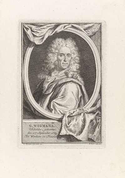 Portret van de schilder Gerard Wigmana; Titelpagina voor: G. Wigmana, Korte schets of denkbeeld om tot een groote volmaaktheid in de schilderkonst te geraken, 1742