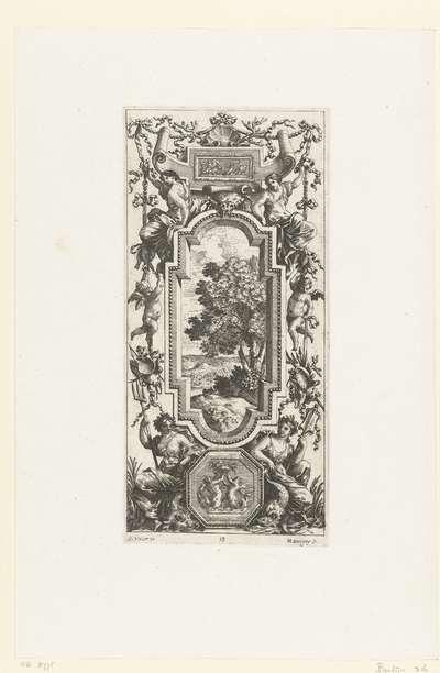 Muurpaneel met twee zittende vrouwen onder verticale lijst; Livre De Diverses Grotesques, Peintes Dans Le Cabinet De La Reine Régente, Au Palais Royal