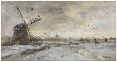 Landschap met molen in de sneeuw | Maris, Jacob
