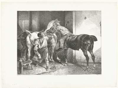 Engelse hoefsmid; Le Maréchal Anglais; Verschillende studies van paarden; Etudes de chevaux