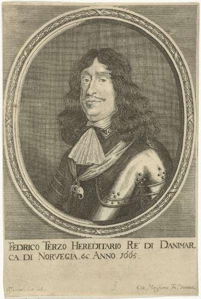 Portret van koning Frederik III van Denemarken en Noorwegen