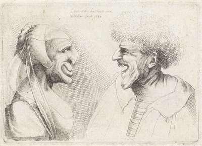 Misvormde koppen van een lachende man en vrouw met hoofdkapje; Varie figurae et probae; Karikaturen, koppen en misvormingen naar Leonardo da Vinci