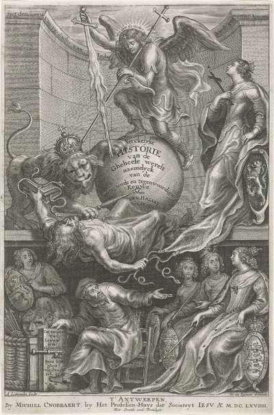 Allegorische titelpagina met de neergeslagen Afgunst; Titelpagina voor: C. Hazart, Kerckelycke historie, 1669