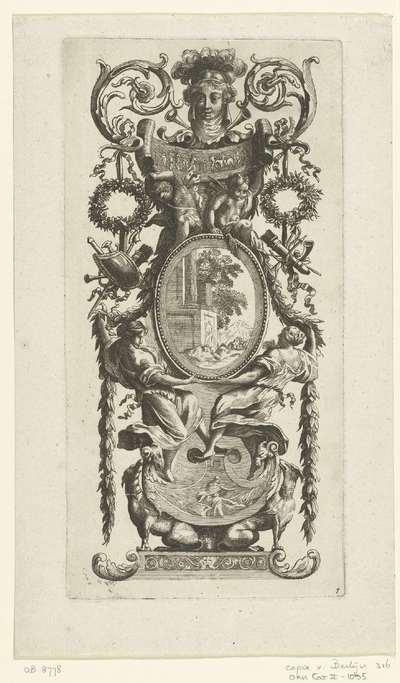 Muurpaneel met twee staande vrouwen onder ovale lijst; Livre De Diverses Grotesques