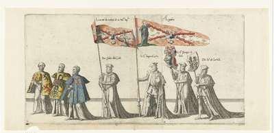 Deel van de optocht, nr. 3 en 4; Begrafenisoptocht van keizer Karel V, 1558