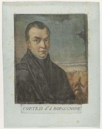 Portret van schilder Jacques Courtois; Kunstenaarszelfportretten in de Galleria degli Uffizi te Florence; Gli autoritratti della Real Galleria di Firenze