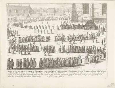 Begrafenisstoet van prinses Maria Louise, 1765; Rouw-Statelykke Lykpragt, of Uitvaart van Wylen Haare Hoog-Vorstelyke Doorluchtigheit Maria Louisa (...) Overleden binnen Leeuwarden in het 78ste jaar Haars Ouderdoms den 9...