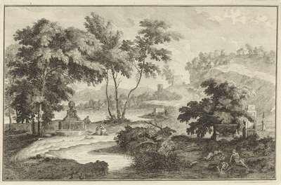 Arcadisch rivierlandschap met bron; Italiaanse en Duitse landschappen