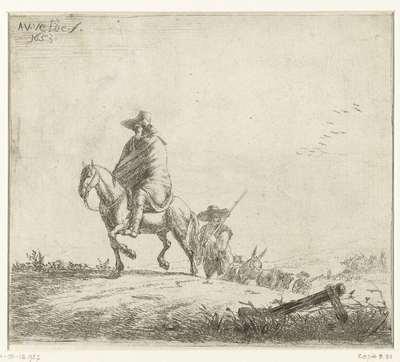 Ruiter en herders met vee op zandweg