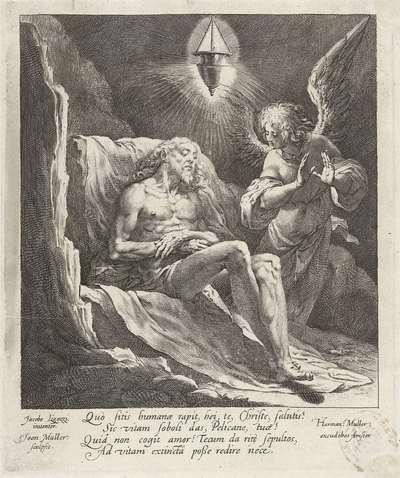 Dode Christus beweend door een engel