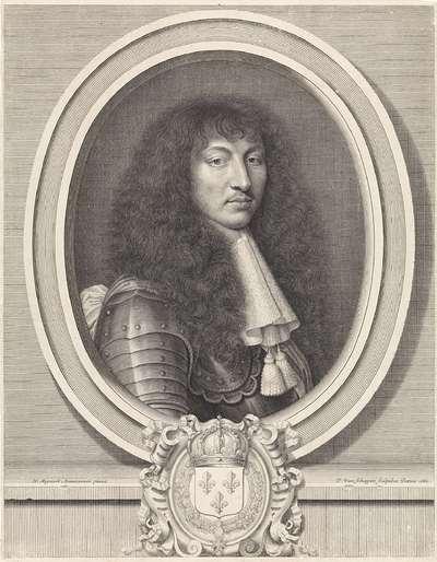 Portret van Lodewijk XIV, koning van Frankrijk, met kanten kraag voorzien van twee kwasten