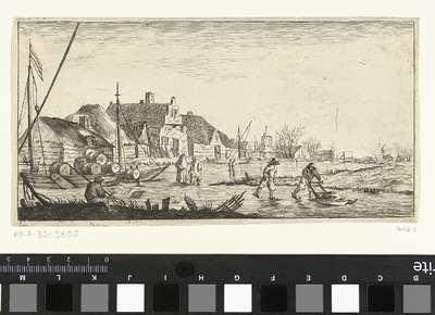 Winterlandschap met een dorp aan een rivier