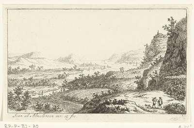 Rivierlandschap met wandelaars; Zes landschappen, tweede serie