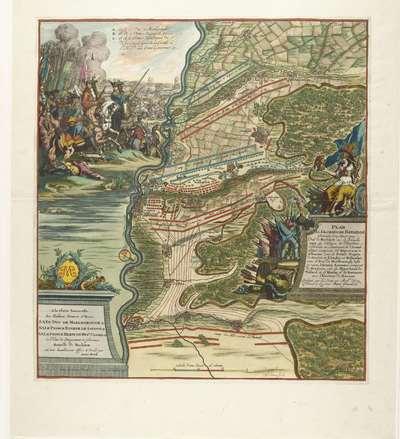 Image from object titled Slag bij Höchstädt, 1704; Plan de la Glorieuse Bataille Donnée le 13. Aoust Prés de Hochstett sur le Danube (...)